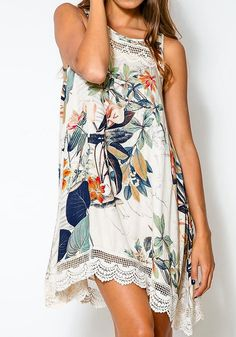 This pastoral print shift dress has scoop neckline and sleeveless cut. Get that chic summer look by pairing this dress with a belt to accentuate your curves. | Lookbook Store Dress Collection