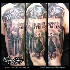 Black and grey Jack the ripper Alo Loco London tattoo