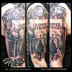 Black and grey Jack the ripper Alo Loco London tattoo