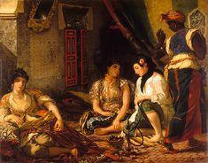 """Eugène Delacroix, """"The Women of Algiers"""" oil on canvas, 180 x 229 cm, Musée du Louvre, Paris (image via Web Gallery of Art) Ferdinand, Delacroix Paintings, Eugène Delacroix, Romanticism Artists, Impressionist Artists, Jean Leon, Oil Painting Reproductions, North Africa, Les Oeuvres"""
