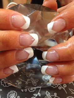 White chevron gel polish with white glitter