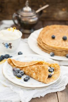 Blueberry and Limoncello Cheese Crepes