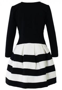 Contrast Two Tone Stripe Dress