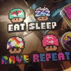 Mario Mushrooms perler beads by erinodesse