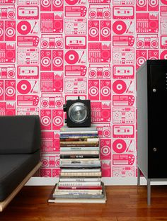 "Search Results for ""aimee wilder analog nights wallpaper wannr"" – domino Geometric Wallpaper Design, Graphic Wallpaper, Red Wallpaper, Wallpaper Decor, Black And Silver Bedroom, Classic Wallpaper, Inspiration Wall, Wall Design, Design Room"