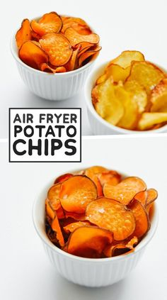 How to Cook Air Fryer Potatoes (Baked, Fries, and Chips!) - - The ultimate guide on how to cook air fryer potatoes! How to make roasted potatoes, homemade French fries, and potato chips in your air fryer. Air Fryer Potato Chips, Air Fry Potatoes, Air Fryer Baked Potato, Roasted Potatoes, White Potatoes, Air Fryer Chips, Best Potato Chips, Cheesy Potatoes, Air Fryer Oven Recipes