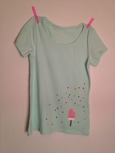 T-shirt with handmade icecream and confetti print (flock foil)
