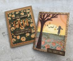 Greeting Card Box, Holiday Greeting Cards, Fall Cards, Halloween Greetings, Halloween Cards, Hero Arts Cards, Pop Up Box Cards, Scarecrows, Thanksgiving Cards
