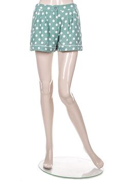 Blue Girly High Waist Shorts in Retro Inspired Polka Dots and Flouncy Loose Fit (FREE SHIPPING)