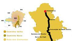 Mapa Estrada Real - hotéis e pousadas - Minas Gerais - Idas Brasil