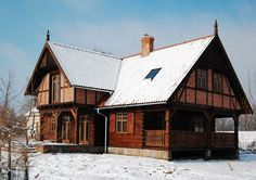 Wooden Architecture of Poland - Probably most beautiful example of Prussian wall and log wall fusion. Construction by polskadrewniana.pl