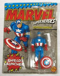 Marvel Super Heroes Captain America Action Figure - $17.99 on GoAntiques.   Age: 1993     Condition: Mint/Factory sealed     Dimensions: Stands approximately 5 inches tall.     The Captain America action figure was produced by Toy Biz and comes with the Shield Launcher.   #vintage #toy #collectible