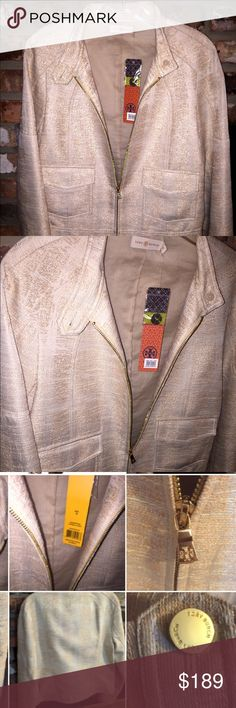 TORY BURCH Larissa Ivory Lined Jacket 10 TORY BURCH  Womens  Sz: 10 Blazer jacket zip up closure; Larissa Ivory Jacquard  (GOLD METALLIC THREAD) Cropped Blazer Jacket 10 Gorgeous dressy and classy, this Tory Burch Jacket looks great with a dress, skirt, dress pants, even jeans.  Manufacturer Color: Ivory  (MATERIAL APPEARS  MORE OF A GOLD SHADE-METALLIC Retail: $495.00; Closure: Zipper Vents: Non-Vented Total Jacket Length: 22 1/2 Inches Jacket Sleeve Length: 25 1/2 Inches Material…