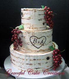 Beautiful Rustic Birch Bark Designed Butter Cream Wedding Cake adorned with Burgundy Grape Clusters Cream Wedding Cakes, Wedding Cake Rustic, Our Wedding, Wedding Stuff, Wedding Ideas, Wedding Cales, Birch Bark, Wedding Cookies, Cake Creations