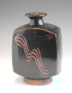 Bernard Leach 1887 - 1979  Stoneware Press Moulded Bottle Vase.   Made at The Leach Pottery St. Ives 50's.
