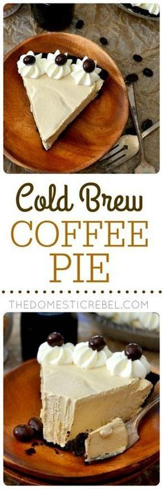 This Cold Brew Coffee Pie is fantastic! Creamy, smooth and chilly with a chocolate cookie crust, a dreamy no-bake coffee filling and whipped cream. Easy, impressive and delicious! Substitute the crust (Cold Chocolate Desserts) Coffee Recipes, Pie Recipes, Sweet Recipes, Baking Recipes, Dessert Recipes, Unique Recipes, Brownie Recipes, Drink Recipes, Gastronomia