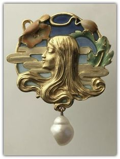 LOUIS ZORRA |  An Art Nouveau Pendant, c. 1900, France. Gold, plique-à-jour enamel & baroque pearl drop.