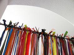 ribbon door hanger discovered by Summer on We Heart It Ribbon Curtain, Stuff To Do, Cool Stuff, Girls Bedroom, Bedrooms, Children's Place, Door Hangers, Classroom Decor, Repurposed