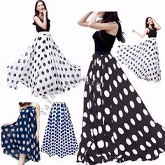 Set Include : 1pc Maxi Skirt. Fashionable Women's high waist maxi skirt. 2 layers skirt, one chiffon layer and 1 lining. Material : Chiffon. Polka dots pattern, wide elastic waistband. Perfect for evening parties, vacation or daily wear. | eBay!