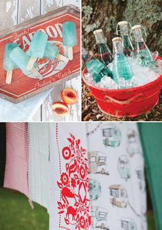 I love this color scheme! vintage blue and orangey-red for a beach wedding