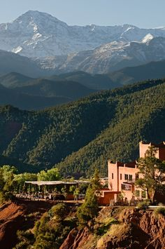 Kasbah Bab Ourika in Morocco, a 15-room hotel built in the traditional Berber style perched on a hilltop at the edge of the Ourika Valley, just outside Marrakech, surrounded by the amazing views of the Atlas Mountains.