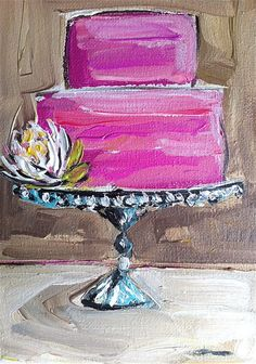 Cake Painting with flower canvas by DevinePaintings on Etsy