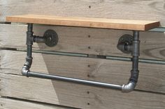 Industrial Wood Shelf and Pipe Towel Rack