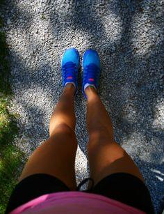 Blue nike running sneakers