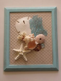 This beautiful, handmade seashell wall hanging would be lovely in a bedroom or bathroom featuring beach décor. Ive taken a photo frame and upcycled/repurposed it by painting it a distressed blue and transforming it into a beautifully rustic, shabby chic wall hanging featuring a large sand dollar, large pink and white murex seashell, pink sea urchin, knobby starfish, piece of coral, small calico scallop, flat clear blue marble, and sea fan painted blue. It measures approximately 9.5x11.5...