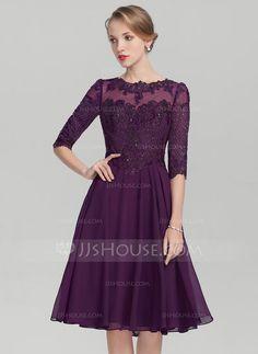 [€ 117.89] A-Linie/Princess-Linie U-Ausschnitt Knielang Chiffon Lace Kleid für die Brautmutter mit Pailletten