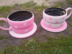 How cute are these planters? Just take old tires painted in a fun color / pattern. Use an old hose to create a handle. Use an old table top for the base. LOVE IT! ~Sassy Creations, Facebook