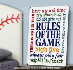 Rules of the Game Planked Wood Sign Rules of the Game Sign Sports Themed Rooms Sports Decor for Boys Sports Themed Nursery Signs for Boys Room Signs for Boys Bedroom Boys Nursery Decor Sports Wall Decor  by OurSecretPlace