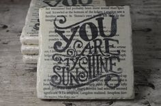 You Are My Sunshine Coaster Set (4) | Drink Coaster | Travertine Tile Coaster | Book Page Art | Wedding Anniversary Gift | Free Shipping |