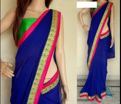 Royal blue georgette saree with green & rani border Comes with green unstitched blouse .... MADE BY ORDER ONLY ORIGINAL PRICE : 4900 Rs CALL/WHATSAPP : + 91 9425052960 https://www.facebook.com/StyleMee/photos/a.353815694702961.85020.352223348195529/627518210666040/?type=1&theater