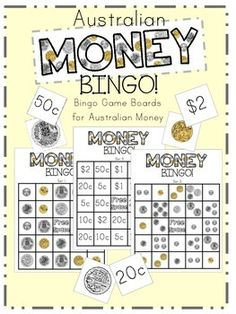 Australian Money Bingo This is a fun, engaging activity to help your students recognise and Australian coins and be able to represent money values in multiple ways. Numeracy Activities, Money Activities, Math Games, Teacher Resources, Learning Games, Money Bingo, Money Games, Teaching Money, Student Teaching