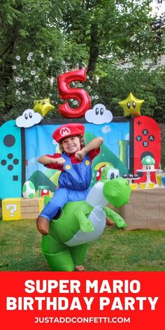 Level up! This Super Mario Birthday Party is so much fun! It's full of DIY party decorations, party food, a Super Mario Toad cake, and party games and activities! What a blast! If you have a little video game lover in your life this is the party for them! Also, be sure to download the free Yoshi egg hunt printable.