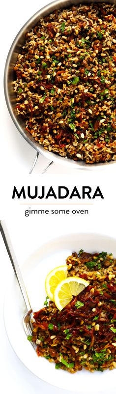 This simple Mujadara recipe is slow-simmered with brown rice, lentils, caramelized onions and the yummiest warming spices…then tossed at the very end with lots of fresh mint and lemon. My kind of delicious, feel-good comfort food. | Gimme Some Oven #mujadara #healthy #dinner #rice #lentil
