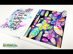 Bold Frangipani Mixed Media Art Journal Page - YouTube
