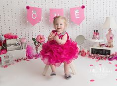 Pink and silver princess first birthday cake smash, hot pink, magenta, flowers, ONE banner Birthday Cake Smash, First Birthday Cakes, Cake Smash Pictures, Princess First Birthday, Chadds Ford, Magenta Flowers, First Year Photos, Photographing Babies, Family Photographer