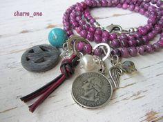 Bettelkette ★ Halbedelstein ★ pink - lila *Kette von charm_one Perlenunikate      auf DaWanda.com