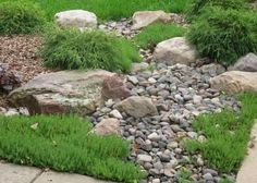 Natural Creations Landscapes Boulders & Dry Creeks - something like this on the front corner? Landscaping With Boulders, Backyard Landscaping, Landscaping Ideas, Backyard Patio, Backyard Ideas, Rain Garden, Hillside Garden, Garden Paths, Garden Landscape Design