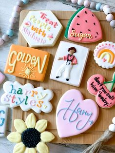 One Direction Birthday, Harry Styles Birthday, Harry Birthday, 20th Birthday, Pretty Cakes, Cute Cakes, Royal Icing Cookies, Sugar Cookies, Gymnastics Cakes