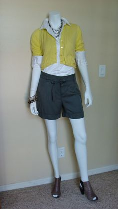 Daily Look:  CAbi Spring '12 Prepster Cardigan and Tucked Shirt with a great pair of dressy shorts from the Loft.