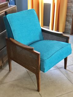 After picture of my completed Mid Century Danish Walnut and Cane Lounge Chair-Reupholstered in a Kravet Turquoise Chenille!! For sale on Craigslist-Las Vegas