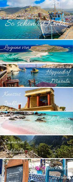 Alle wichtigen Kreta Tipps auf einen Blick The Greek island of Crete is diverse and beautiful. In my Crete tips you will learn all the highlights, sights and the best beaches in Crete. Creta, Santorini, Sites Touristiques, Crete Island, Travel Tags, Most Beautiful Beaches, Greece Travel, Greek Islands, Malaga