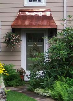 Project Gallery - Metal Canopy Design - Design Your Awning Metal Door Awning, Copper Awning, Front Door Awning, Porch Awning, Diy Awning, Window Awnings, Front Doors, Front Stoop, Porch Roof