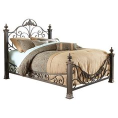 Features:  -Monstrous bed posts are capped with large cast finials and sturdy feet .  -Made of carbon steel and coated in a Gilded Slate finish (Black base w/ bluish hue, highlighted with gleamin