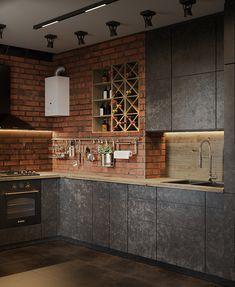 Kitchen Room Design, Interior Design Kitchen, Kitchen Furniture, Furniture Design, Loft, Kitchen Trends, Brick, Sweet Home, House