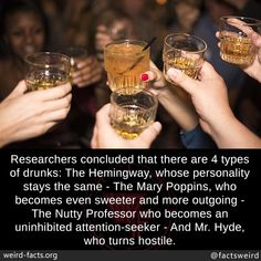 Researchers concluded that there are 4 types of drunks