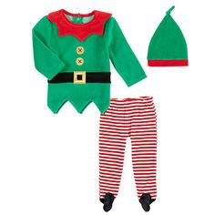 Koala Kids Boys' 3 Piece Green/Red Elf Set with Long Sleeve Shirt, Footed Pants and Hat